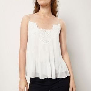 MASSIMO DUTTI NWOT Pleated Top with Lace Trim 2